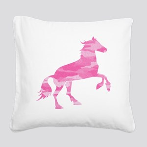 Pink Camo Horse Square Canvas Pillow
