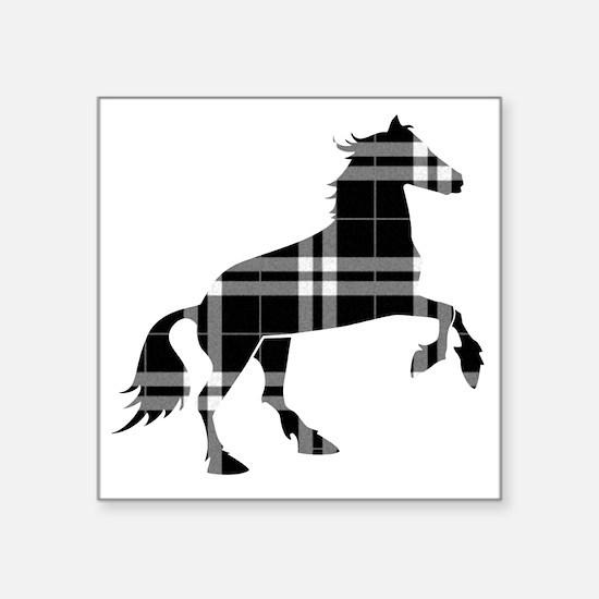 "Black Plaid Horse Square Sticker 3"" x 3"""