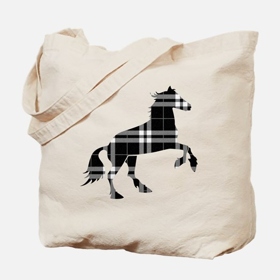 Black Plaid Horse Tote Bag
