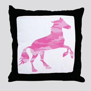 Pink Camo Horse Throw Pillow