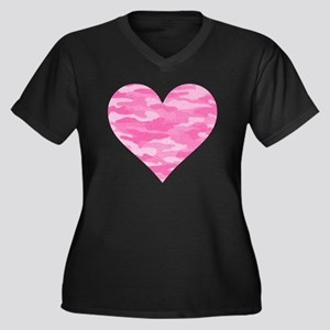 Pink Camo He Women's Plus Size Dark V-Neck T-Shirt