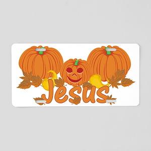 Halloween Pumpkin Jesus Aluminum License Plate