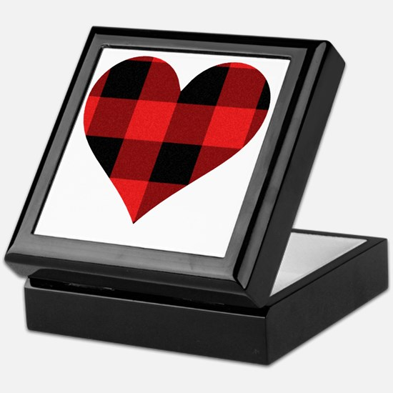 Red PLaid Heart Keepsake Box