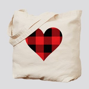 Red PLaid Heart Tote Bag