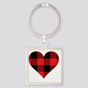 Red PLaid Heart Square Keychain