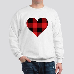 Red PLaid Heart Sweatshirt