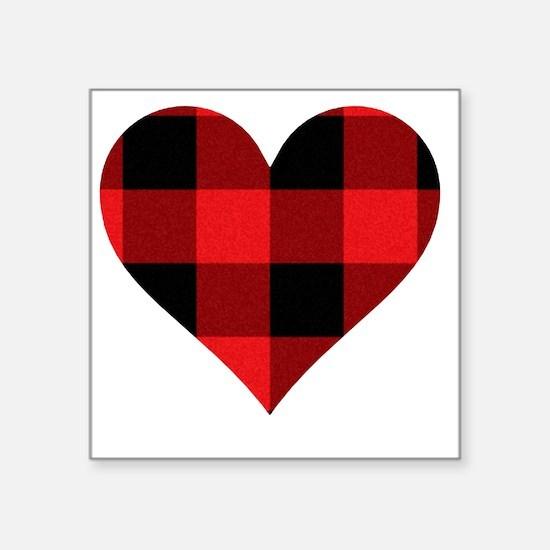 "Red PLaid Heart Square Sticker 3"" x 3"""