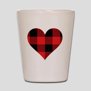Red PLaid Heart Shot Glass