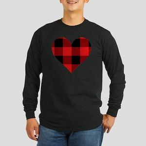 Red PLaid Heart Long Sleeve Dark T-Shirt