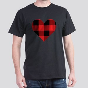 Red PLaid Heart Dark T-Shirt