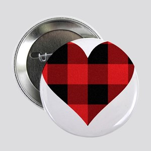 "Red PLaid Heart 2.25"" Button"