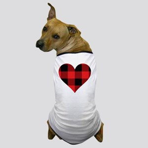 Red PLaid Heart Dog T-Shirt