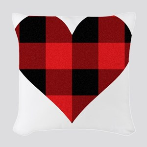 Red PLaid Heart Woven Throw Pillow