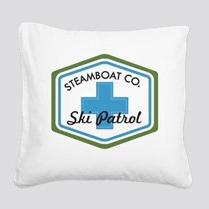 Steamboat Ski Patrol Patch Square Canvas Pillow