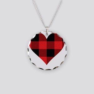 Red PLaid Heart Necklace Circle Charm