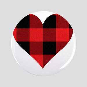 "Red PLaid Heart 3.5"" Button"