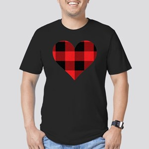 Red PLaid Heart Men's Fitted T-Shirt (dark)