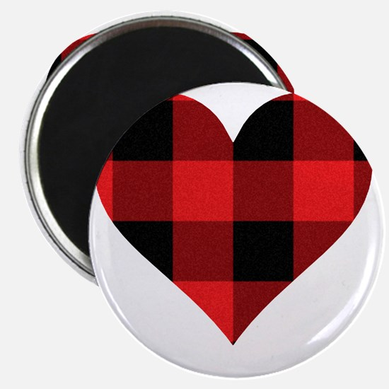 Red PLaid Heart Magnet