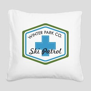 Winter Park Ski Patrol Patch Square Canvas Pillow