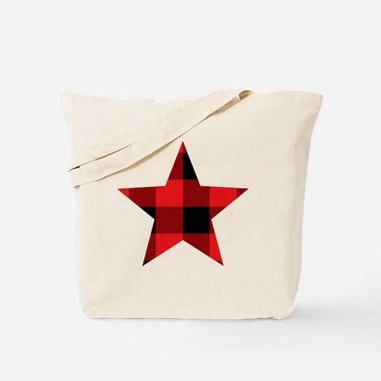 Red Plaid Star Tote Bag