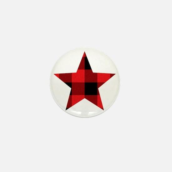 Red Plaid Star Mini Button