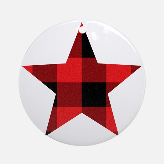 Red Plaid Star Round Ornament