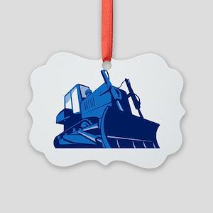 bulldozer front retro Picture Ornament
