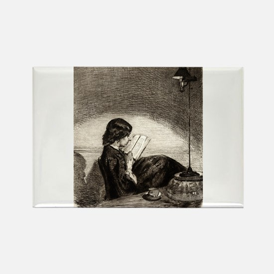 Reading by lamplight - Whistler - 1859 Magnets