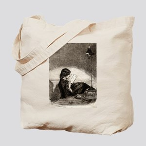 Reading by lamplight - Whistler - 1859 Tote Bag