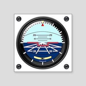 """Artificial Horizon (TRANS w Square Sticker 3"""" x 3"""""""