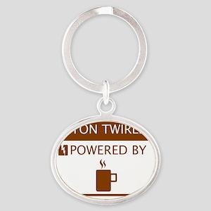 Baton Twirler Powered by Coffee Oval Keychain