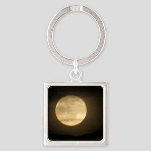 full moon Square Keychain