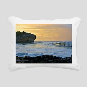 Sunlit Waves at Dawn Rectangular Canvas Pillow