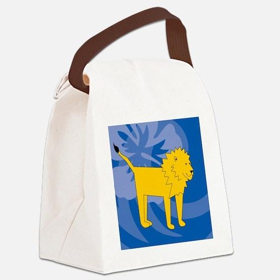 Lion Round Ornament Canvas Lunch Bag