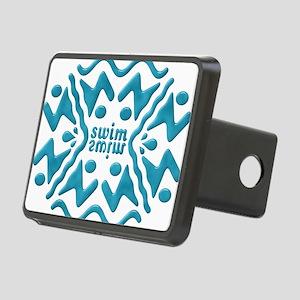 Swim Bevel Blue Rectangular Hitch Cover