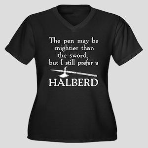 Halberd Whit Women's Plus Size Dark V-Neck T-Shirt