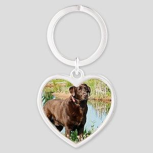 Chocolate Labrador Ready for the Hu Heart Keychain