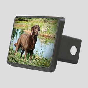 Chocolate Labrador Ready f Rectangular Hitch Cover