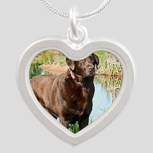 Chocolate Labrador Ready for Silver Heart Necklace