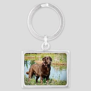 Chocolate Labrador Ready for th Landscape Keychain