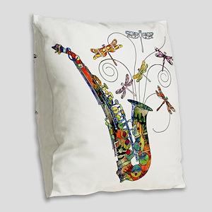 wild Saxophone Burlap Throw Pillow