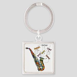 wild Saxophone Square Keychain