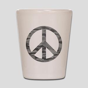 Grey Camo Peace Logo Shot Glass