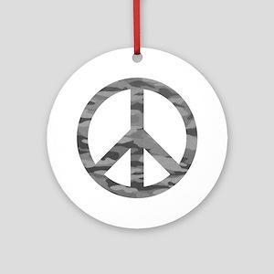 Grey Camo Peace Logo Round Ornament