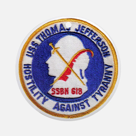 uss thomas jeffer patch transparent Round Ornament