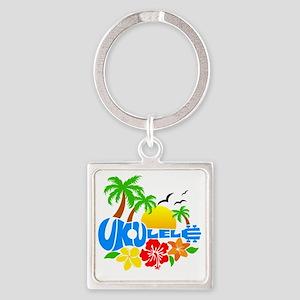 Ukulele Island Logo Square Keychain