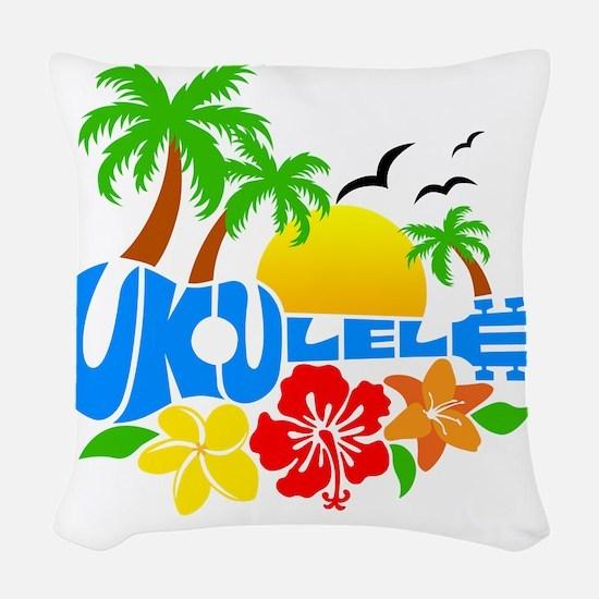 Ukulele Island Logo Woven Throw Pillow