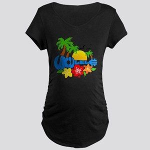 Ukulele Island Logo Maternity Dark T-Shirt