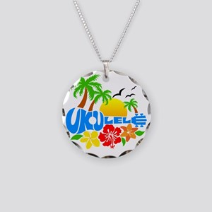 Ukulele Island Logo Necklace Circle Charm
