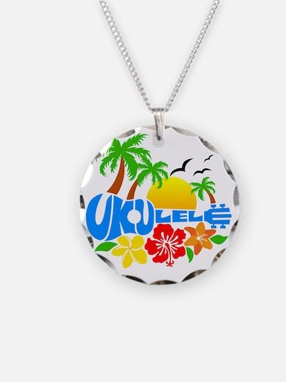 Ukulele Island Logo Necklace Circle Charm